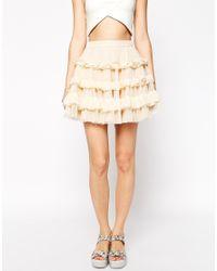 ASOS - Black Rara Skater Skirt With Ruffles - Lyst