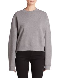 Acne | Gray Bird Cropped Sweatshirt | Lyst