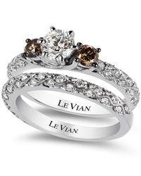 Le Vian | Bridal White Certified Diamond And Chocolate Diamond Engagement Ring Set In 14K White Gold (1-3/8 Ct. T.W.) | Lyst