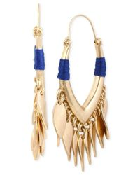 Kenneth Cole | Gold-tone Blue Thread-wrapped Shaky Hoop Earrings | Lyst