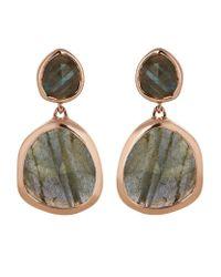 Monica Vinader - Green Labradorite Siren Medium Drop Earrings - Lyst