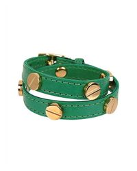 CC SKYE | Green The Signature Screw Bracelet Double Wrap In Gold | Lyst