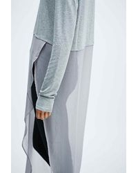 Sparkle & Fade - Gray Side Split Jersey And Chiffon Jumper - Lyst