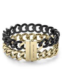Michael Kors - Metallic Two Tone Curb Chain Bracelet - Lyst