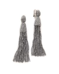 Oscar de la Renta - Metallic Classic Long Tassel Earrings - Lyst