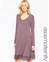 ASOS | Purple Swing Dress With Lace Hem | Lyst