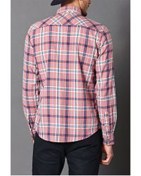 Forever 21 - Pink Classic Fit Plaid Shirt You've Been Added To The Waitlist for Men - Lyst