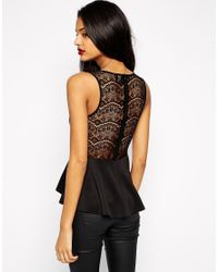 ASOS - Black Peplum Top With Embellished Trim And Lace Back - Lyst