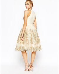 Chi Chi London | Premium Metallic Lace Midi Prom Dress With High Neck | Lyst
