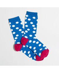 J.Crew | Blue Factory Polkadot Socks | Lyst
