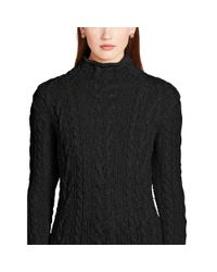 Ralph Lauren - Black Cable-knit Mockneck Sweater - Lyst