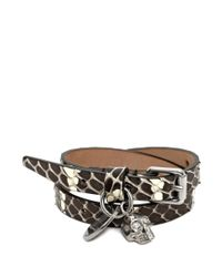 Alexander McQueen | Metallic Leather Double Wrap Skull Bracelet | Lyst