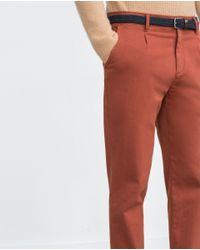 Zara | Brown Pleated Trousers for Men | Lyst