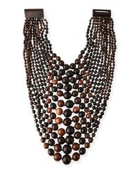 Viktoria Hayman - Brown Multi-tier Tiger Wood Bead Necklace - Lyst