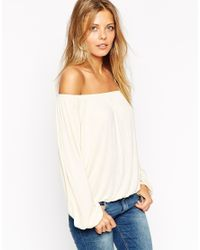 ASOS - Natural Off Shoulder Top In Slouchy Fabric - Lyst
