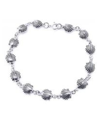 Aeravida | Metallic Delicate Sea Shell Link Sterling Silver Bracelet | Lyst
