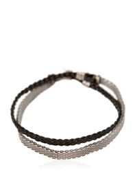 Title Of Work Metallic Chainmail & Leather Bracelet for men