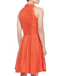 Elle Sasson - Orange Alohi Sleeveless Linen Shirtdress - Lyst
