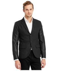 Kenneth Cole Reaction Gray Faux-Leather Moto Sleeve Blazer for men