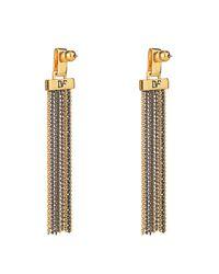 Diane von Furstenberg | Metallic Mixed Metal Multi Chain Tassel Earrings | Lyst