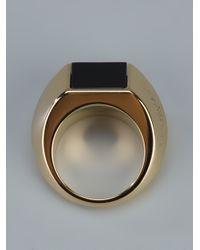 Saint Laurent - Metallic Ring with Onyx Insert - Lyst