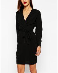ASOS - Black Tulip Dress With Wrap Belt - Lyst