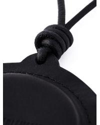 Ann Demeulemeester - Black Logo Round Pendant Necklace - Lyst