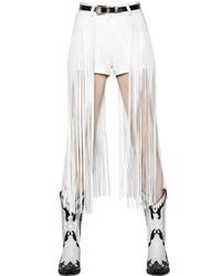 Maria Escoté - White High Waisted Fringed Leather Shorts - Lyst