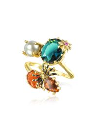 Les Nereides - Metallic Eclatante Discretion Little Spider Blue Stone And Red Star Ring - Lyst