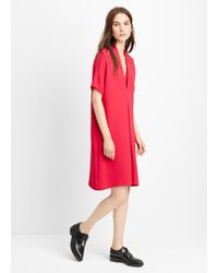 VINCE | Red V-Neck Crepe Shift Dress  | Lyst