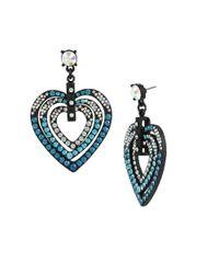 Betsey Johnson - Blue Pave Heart Drop Earrings - Lyst