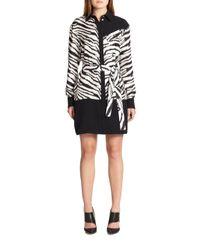 Emanuel Ungaro - Black Zebra-print Silk Shirtdress - Lyst
