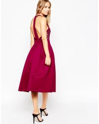 ASOS - Purple Premium Cutwork Full Midi Scuba Skater Dress - Lyst
