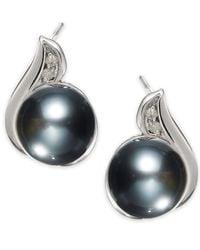 Macy's - Metallic 14K White Gold Tahitian Pearl (8Mm) And Diamond Accent Earrings - Lyst