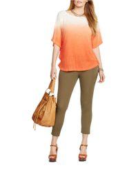 Lauren by Ralph Lauren | Orange Plus Linen Dip-dye Poncho | Lyst