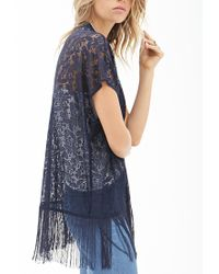 Forever 21 - Blue Floral Lace Kimono - Lyst