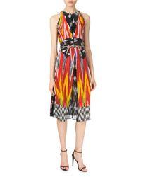 Altuzarra - Red Ikat-print Silk-crepe De Chine Dress - Lyst
