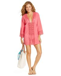 La Blanca | Pink Crochet-trim Tunic Cover-up | Lyst