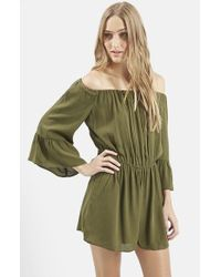TOPSHOP | Green Crinkly Pleated Romper | Lyst