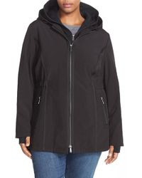 DKNY | Black Hooded Soft Shell Jacket With Inset Vest | Lyst