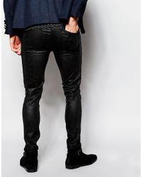 ASOS - Super Skinny Jeans In Black Reptile Look for Men - Lyst