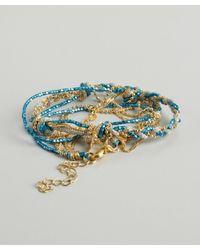 Sogoli - Blue And Gold Braided Bead Chain Wrap Bracelet - Lyst