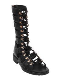 Balmain - Black Leather High Top Gladiator Sandals - Lyst