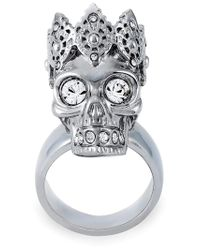 Alexander McQueen | Gray King Skull Cocktail Ring | Lyst