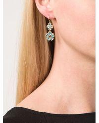 Marie-hélène De Taillac | Blue 22kt Gold Apatite Drop Flower Earrings | Lyst