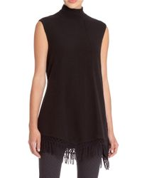 NIC+ZOE | Black Fringed Sleeveless Turtleneck Sweater | Lyst