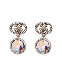 Gucci | Metallic Crystal-Embellished Logo Earrings | Lyst