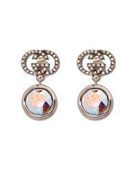 Gucci - Metallic Crystal-Embellished Logo Earrings - Lyst