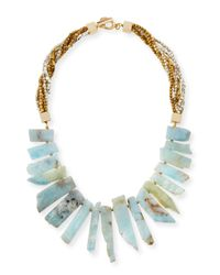 Panacea | Blue Aquamarine Stick Bib Necklace | Lyst