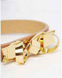 Ted Baker | Metallic Leather Bow Bracelet | Lyst